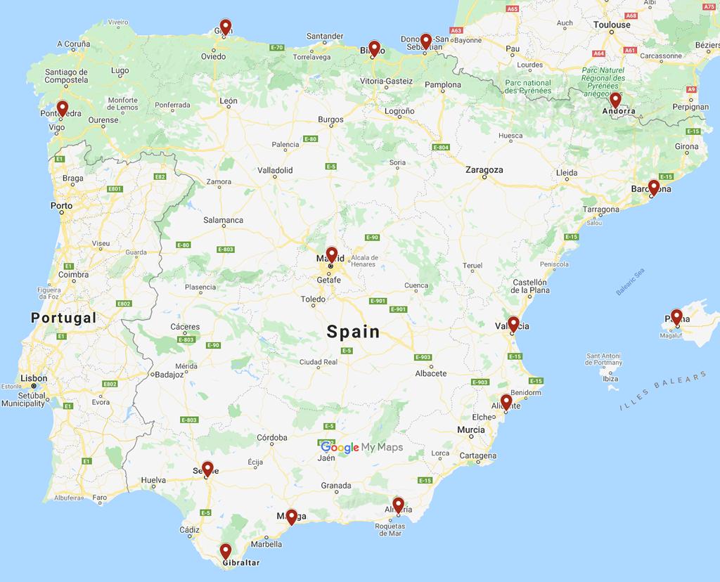 A map showing the location of Apolo Informatica engineers in Spain